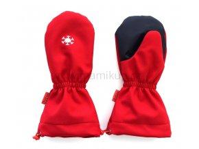 PRODLOUŽENÉ softshellové rukavice s KOŽÍŠKEM - červené