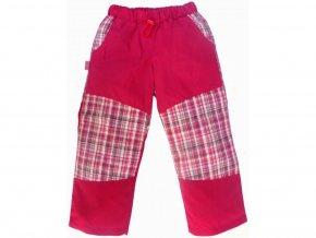 Letní BAVLNĚNÉ kalhoty s KOSTKOU - RŮŽOVÉ+růžovobílá kostka