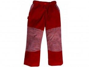 Letní BAVLNĚNÉ kalhoty s KOSTKOU - ČERVENÉ+červeno-bílá kostka