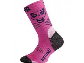 Dětské SLABÉ merino ponožky PANDA - růžové