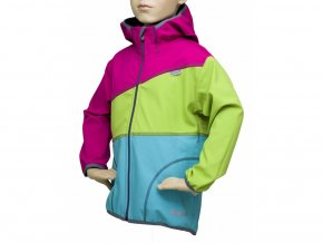 Softshellová bunda trojbarevná RŮŽOVÁ-ZELENÁ-TYRKYSOVÁ