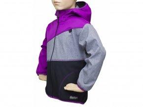 Dětská softshellová bunda 07-ORCHIDEJ-ŠEDÝ MELÍR-ČERNÁ