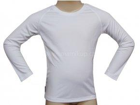 Dětské funkční triko s BAMBUSEM a UV, dlouhý rukáv - BÍLÉ