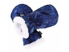 Softshellové rukavice s KOŽÍŠKEM - modré jeans