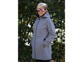 Dámský ZATEPLENÝ softshellový kabát - ŠEDÝ MELÍR
