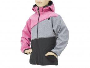 Dětská softshellová bunda 07- RŮŽOVÝ MELÍR-ŠEDÝ MELÍR-ČERNÁ