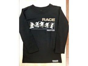 Slabé MERINO triko s POTISKEM Lasting RACE - ČERNÉ