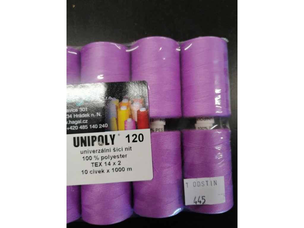 Nitě UNIPOLY 120 14x2 1000 m středně fialová 445