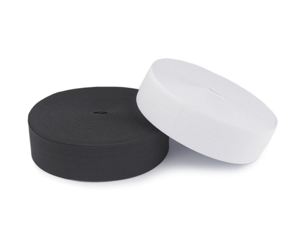 Plochá tkaná pruženka bílá 30mm