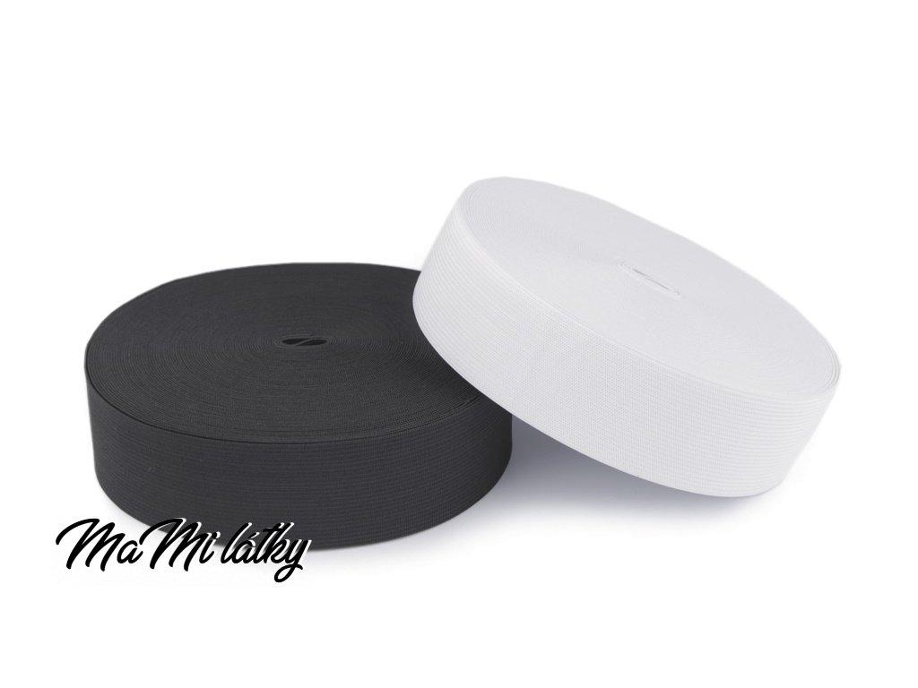 Plochá tkaná pruženka bílá 25mm
