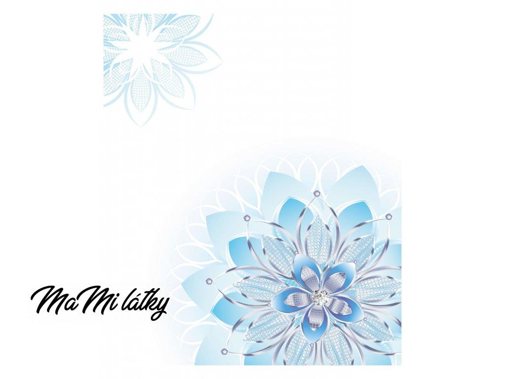 modrá květina v rohu na bílé