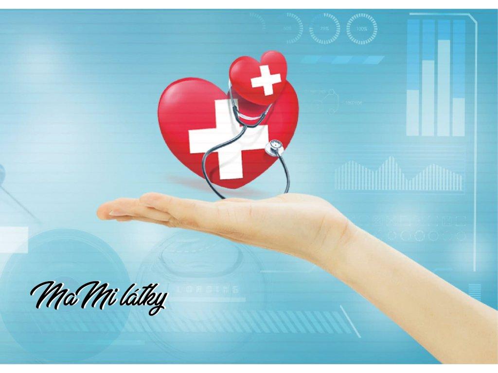 Koženkový panel  28x20cm lékovka srdce na dlani