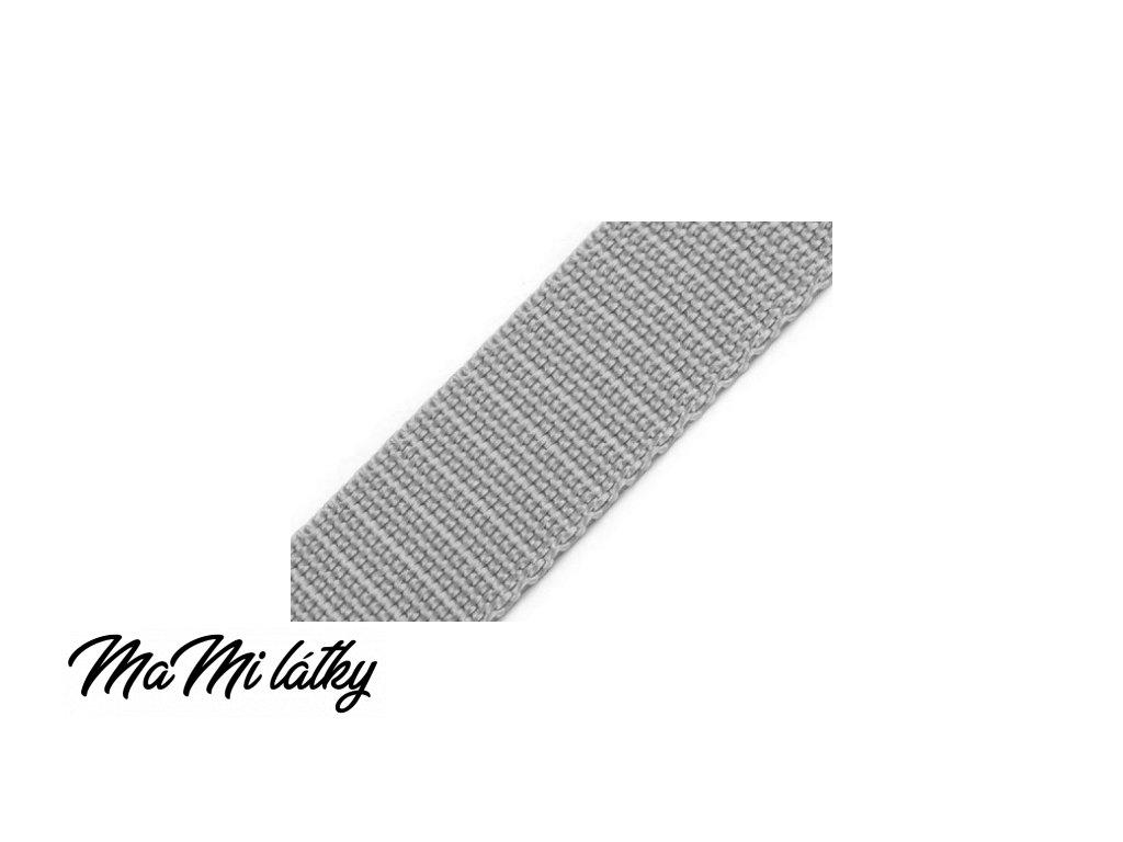 Popruh polypropylénový šíře 25 mm šedá