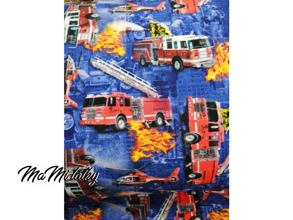 Bavlněný úplet hasiči na modré
