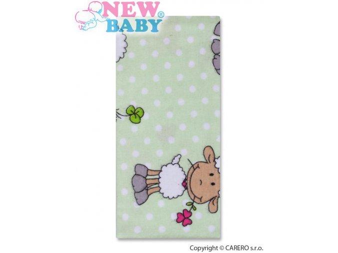 Flanelová plena s potiskem New Baby zelená s ovečkou a puntíkem