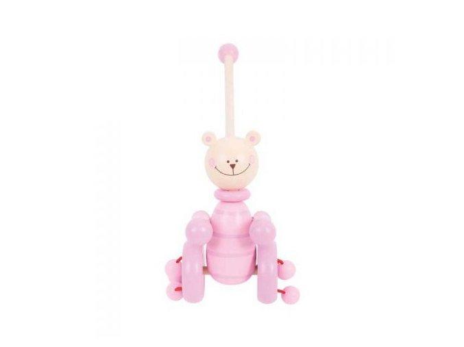 bb080 pink bear push along front view
