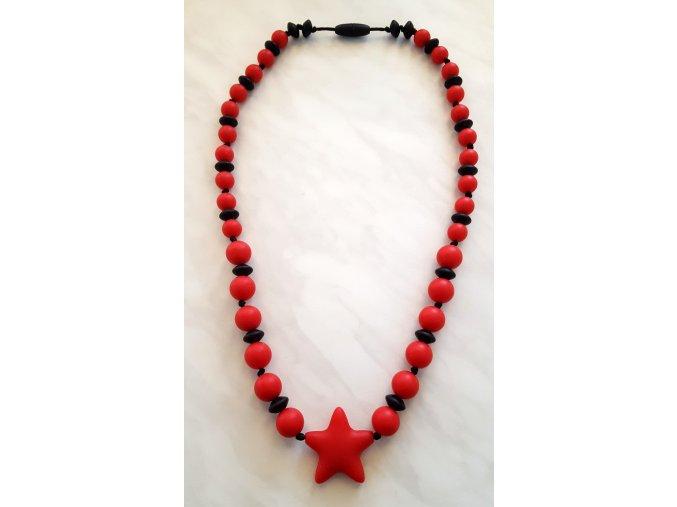 Silikonové kojící korále černo-červené s hvězdou