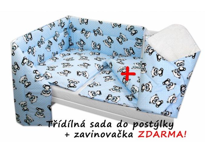 97109 159309 3 dilna sada mantinel s povlecenim zavinovacka zdarma baby panda modra