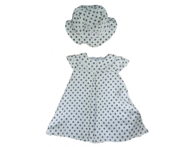 Šaty bílé s puntíky (Velikost 86)