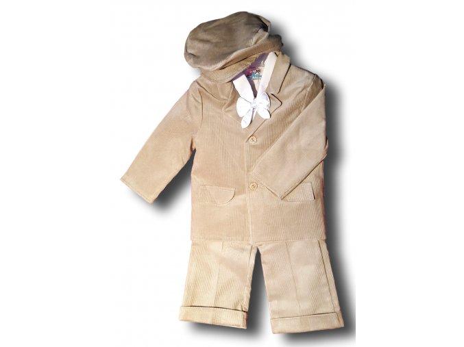 Manžestrový béžový oblek (Velikost 86)