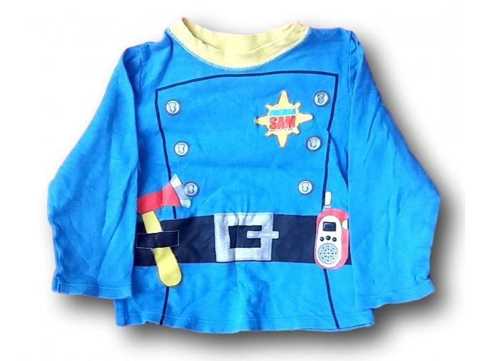 Tričko modré - hasič, Mothercare, vel. 98