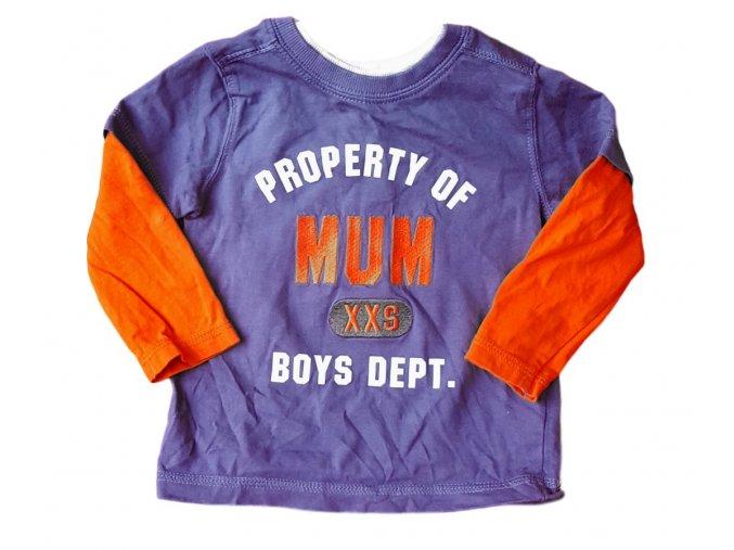 Tričko modré s oranžovými rukávy, Mothercare, vel. 80