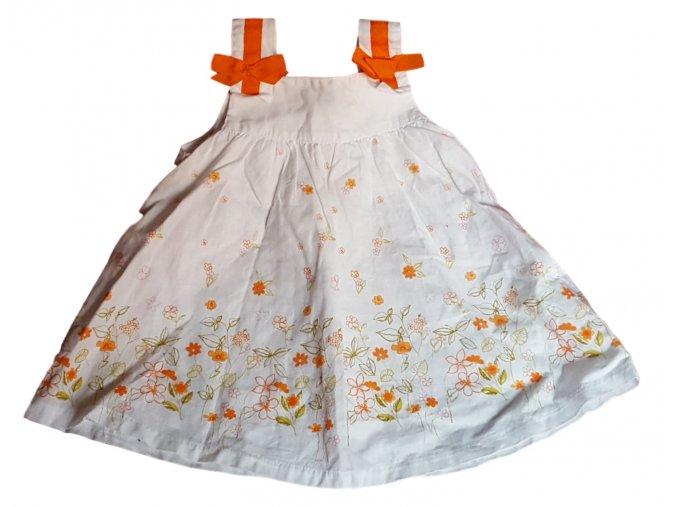 Bílé šatičky s oranžovými květy