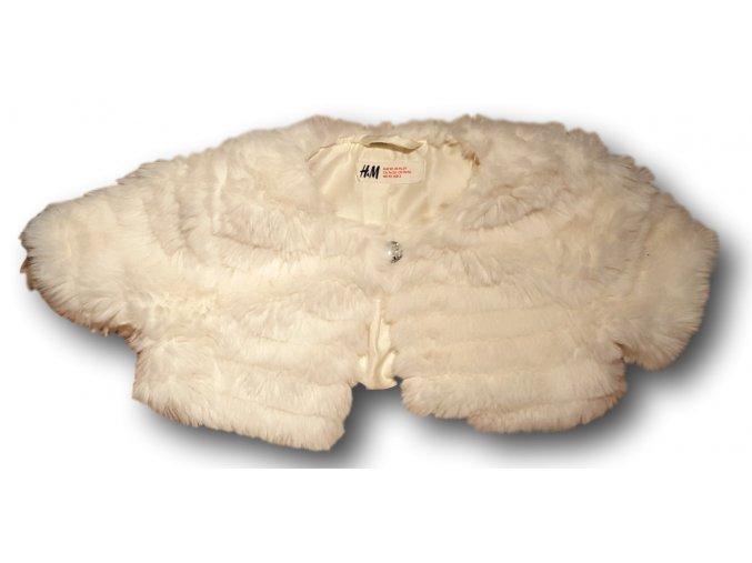 Bolerko bílé s dlouhým plyšovým chlupem, H&M, vel. 92