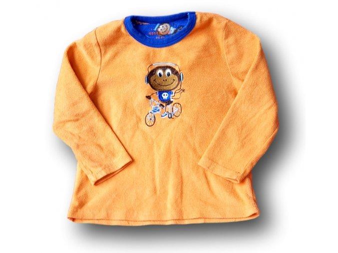 Oranžová mikina s opičkou, Primark essentials, vel. 116