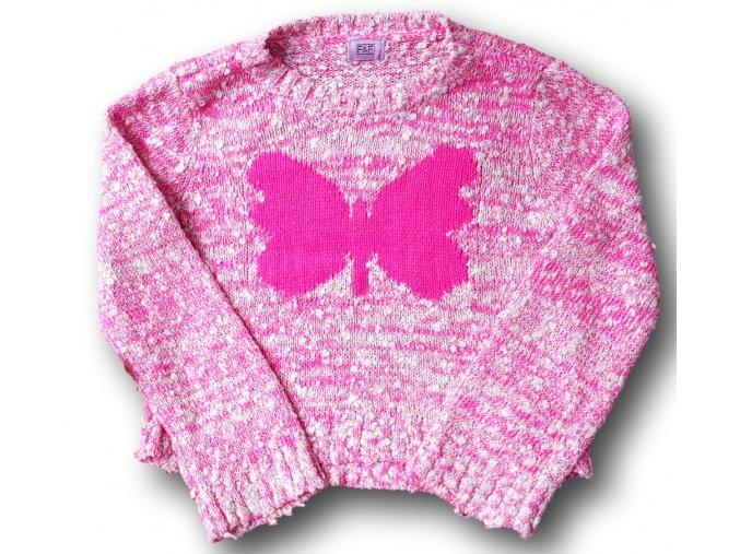 Pletený růžový svetr s motýlkem, F&F, vel. 122