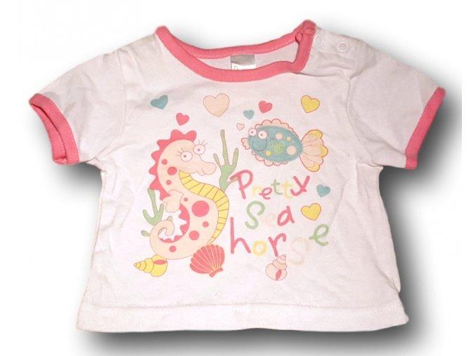 Tričko bílé s růžovým lemem, Baby, vel. 62