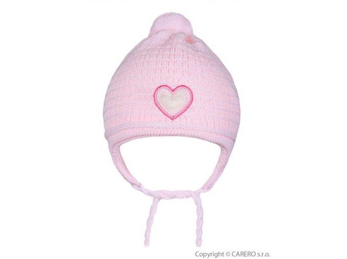 Dětská zimní čepička Linda světle růžová