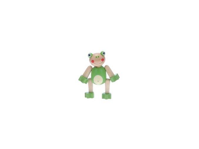 Zvířátko dřevěné 10 cm pohyblivé - Žabička