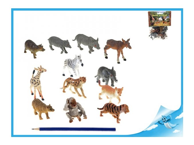 Zvířátka safari mláďata 6,5-9cm 12ks