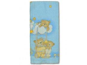 Flanelová plena s potiskem New Baby modrá s medvědem na žebříku