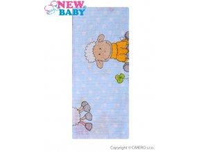 Bavlněná plena s potiskem New Baby modrá s ovečkou