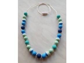 Silikonové kojící korále žíhané modro-tyrkysovo-mentolové