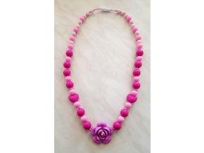 Silikonové kojící korále růžové s růží a srdíčky