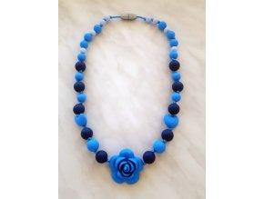 Silikonové kojící korále modré s růží a srdíčky