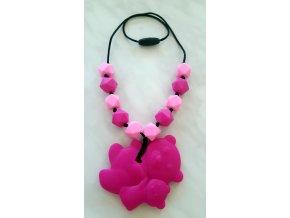 Silikonové kojící korále růžové s medvídkem