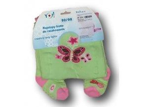 Dětské punčocháčky froté ABS zelené - motýlek (Velikost 92-98)