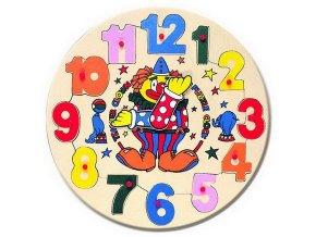 Dřevěné puzzle hodiny s klaunem