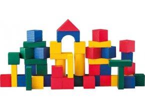 Woody stavebnice - barevné kostky 50ks