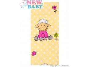 Flanelová plena s potiskem New Baby žlutá s ovečkou a puntíkem