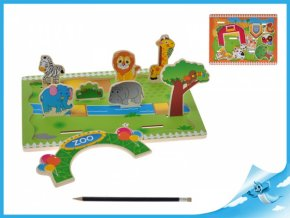 Hrací set zvířátka dřevěný 3D - zoo