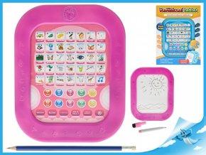 Vzdělávací tablet česky mluvící s kreslící tabulkou na baterie (Barva Růžová)