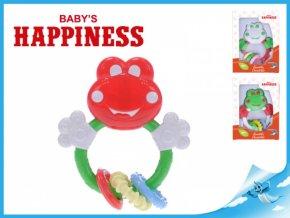 Chrastítko žabka 13x12cm s kousacími tvary Baby´s Happiness (Barva červená, Zvířátko Žabka)