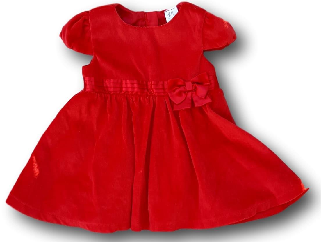Červené sametové šaty, H&M, vel. 86