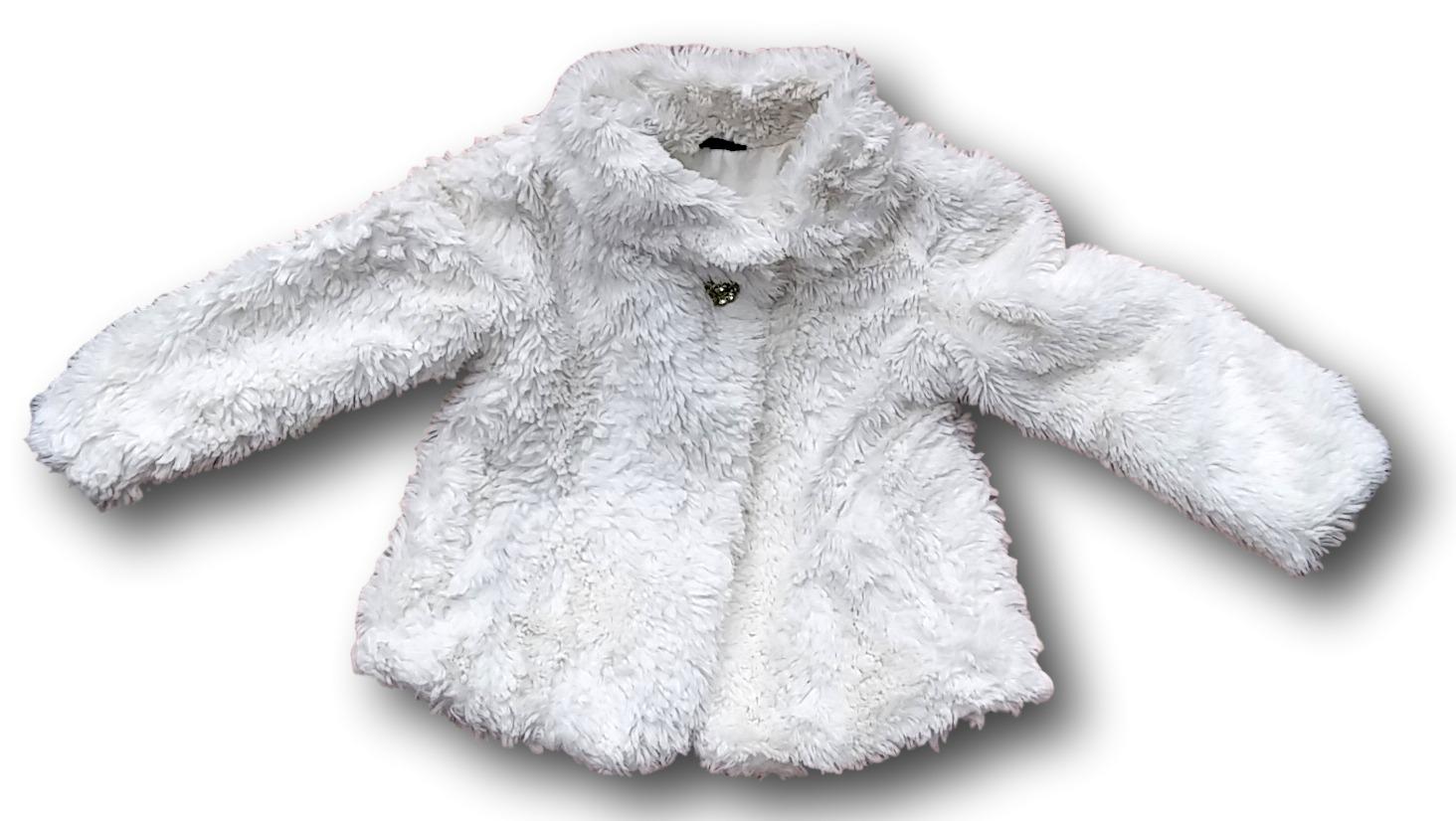 Kabátek bílý s dlouhým chlupem, F&F, vel. 98