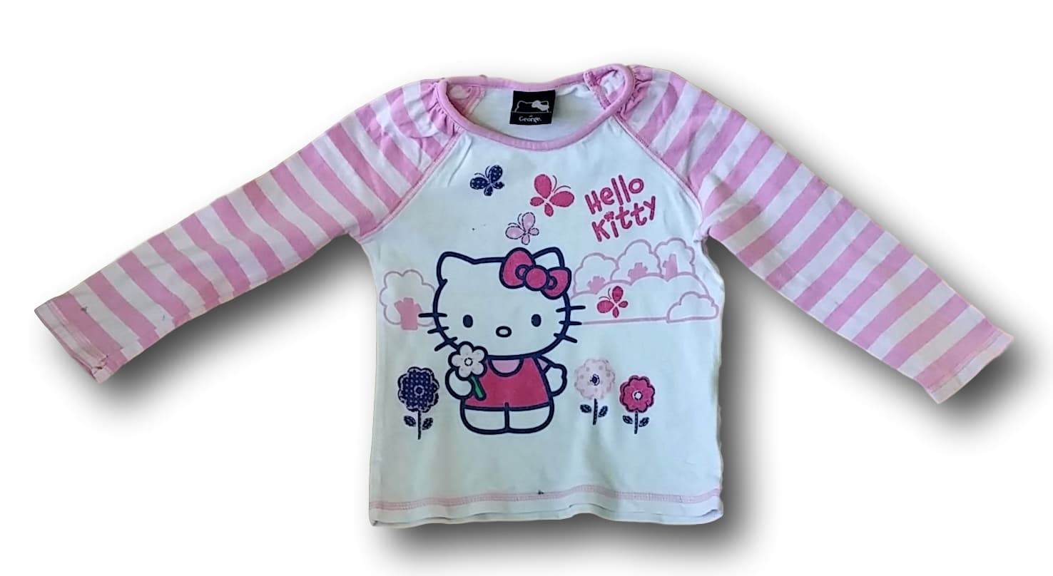 Tričko bílorůžové Hello Kitty, at George, vel. 98
